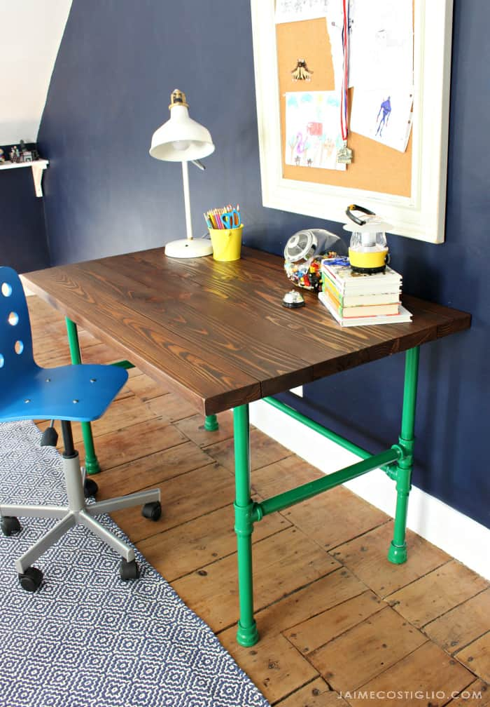 varathane stained desk top with painted pipe base