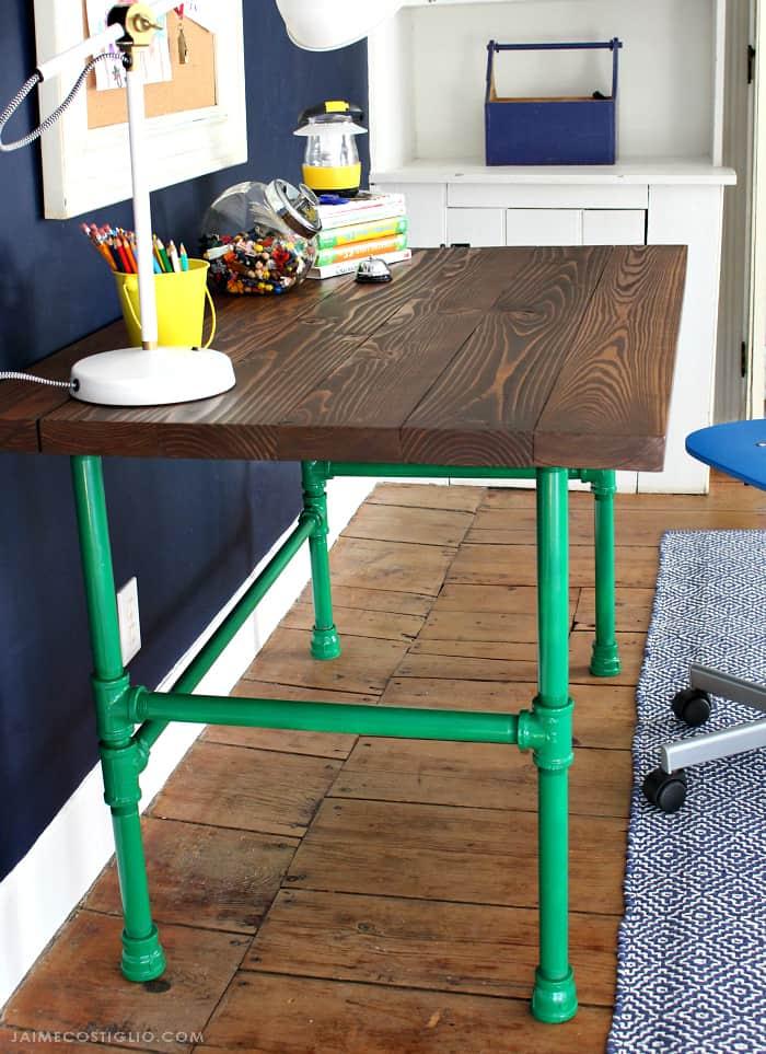 varathane stained wood desk