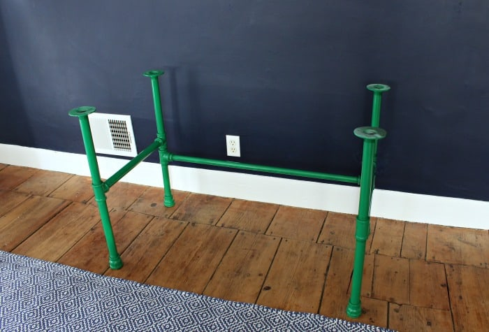 wood desk painted pipe base