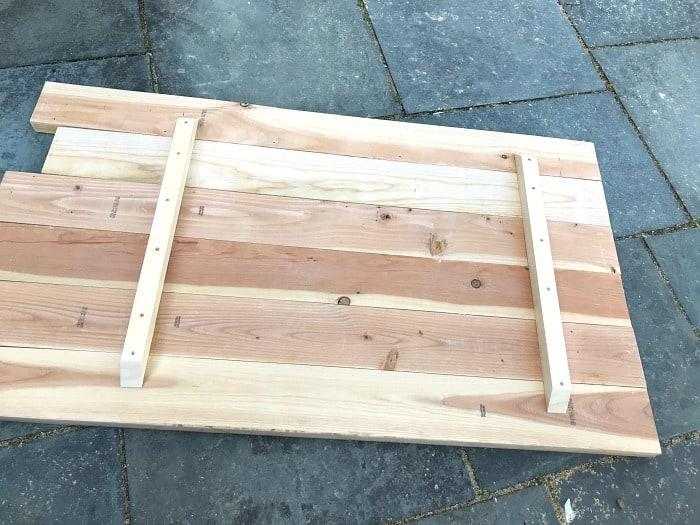 wood desk top underside before