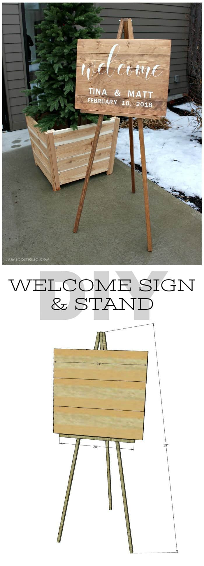 diy welcome sign and stand free plans
