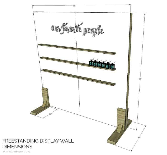 freestanding display wall dimensions