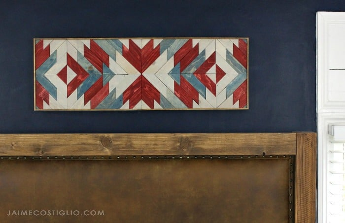 stained wall art hung horizontally