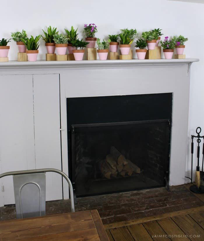 summer mantel and fireplace