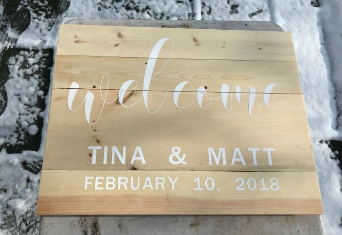 wood welcome sign painted lettering