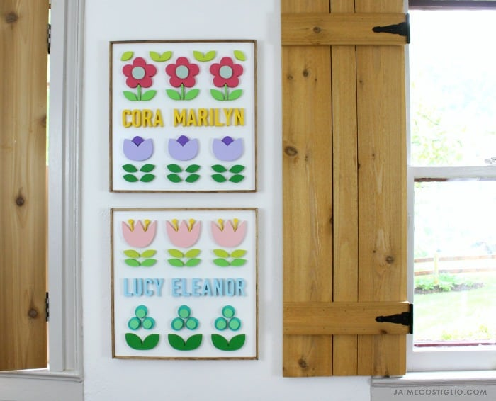 name plaques with florals