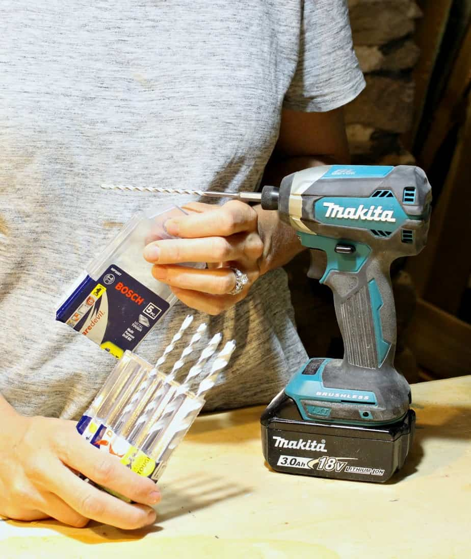 Makita impact driver with Bosch carbide drill bits