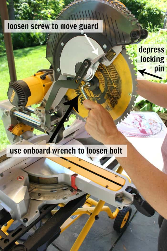 dewalt miter saw changing the blade step 1