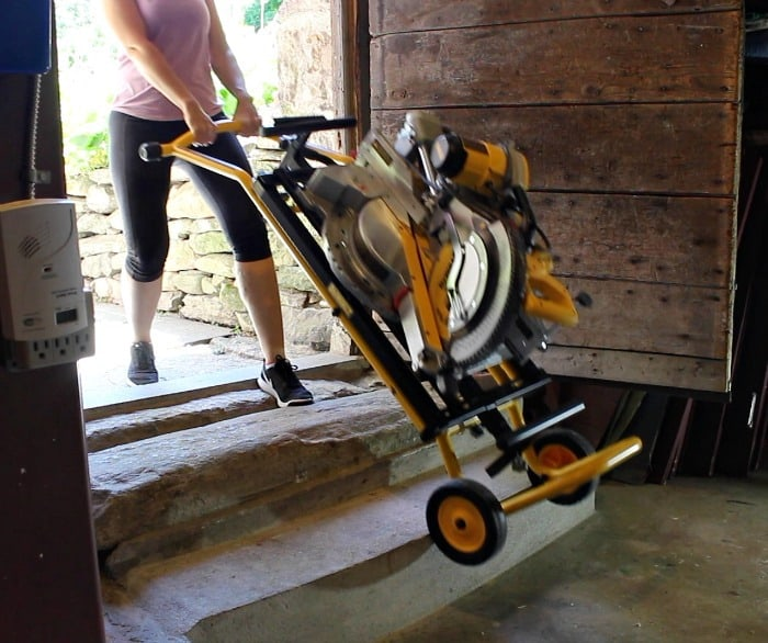 dewalt mobile miter saw on stairs