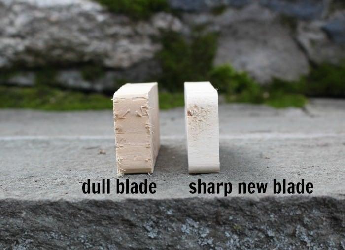 dull blade cut versus new blade