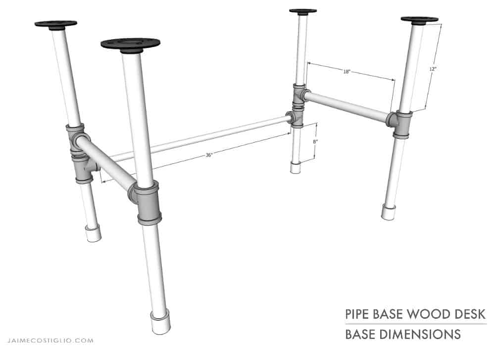 pipe base wood desk base dimensions