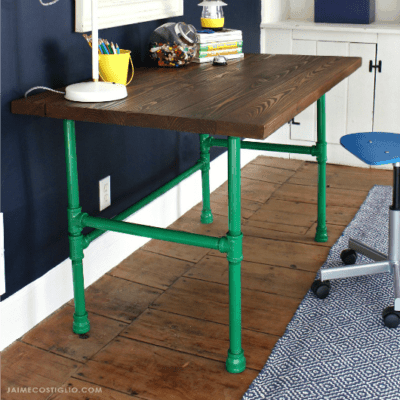 DIY Painted Pipe Base Wood Desk