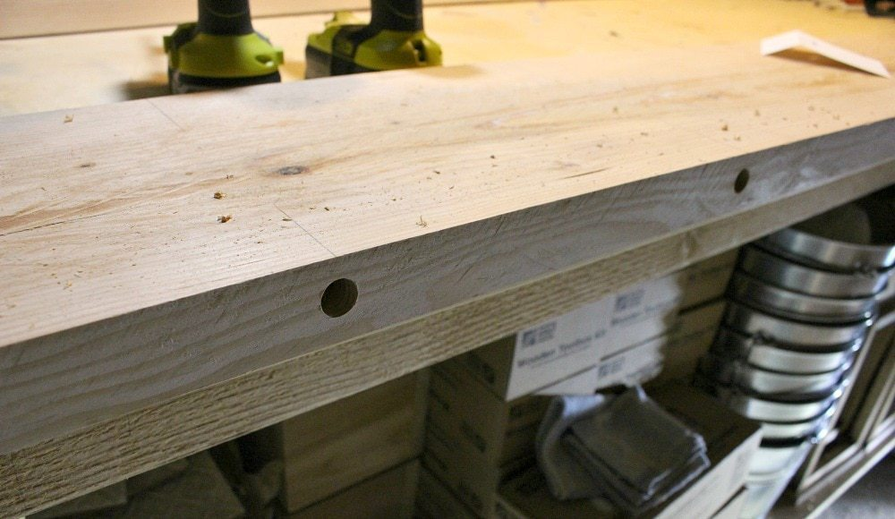 dining table dowel holes