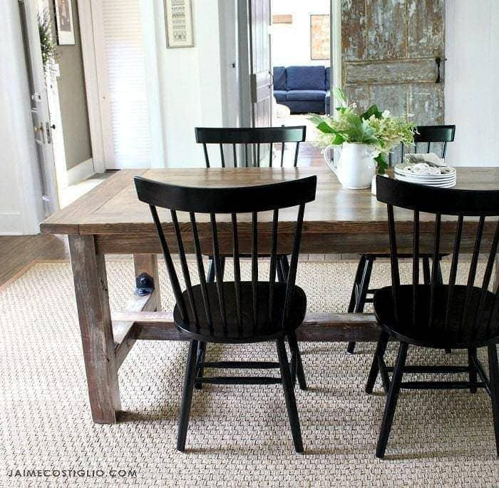 faux barnwood dining table