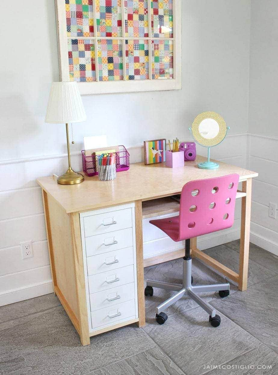 ikea desk hack metal drawers and wood