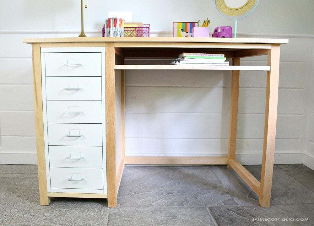 metal drawers and wood desk frame