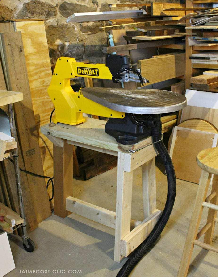 scroll saw set up with stand