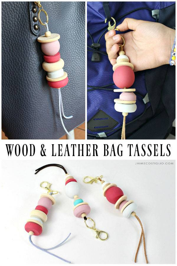 wood and leather bag tassels collage