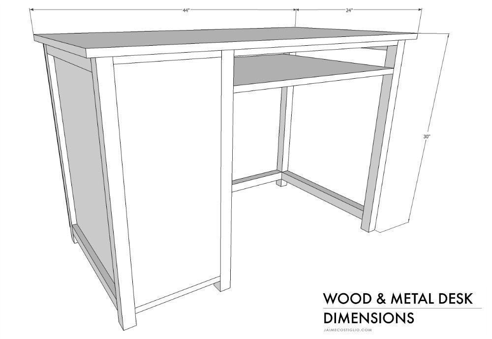 wood and metal desk dimensions 1