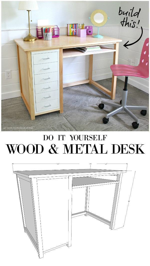 wood and metal desk free plans