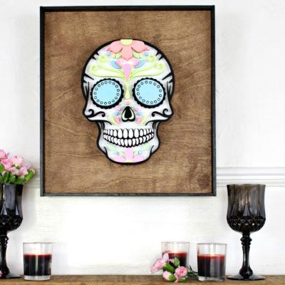 Pasteloween Sugar Skull with Neon Lights Paint