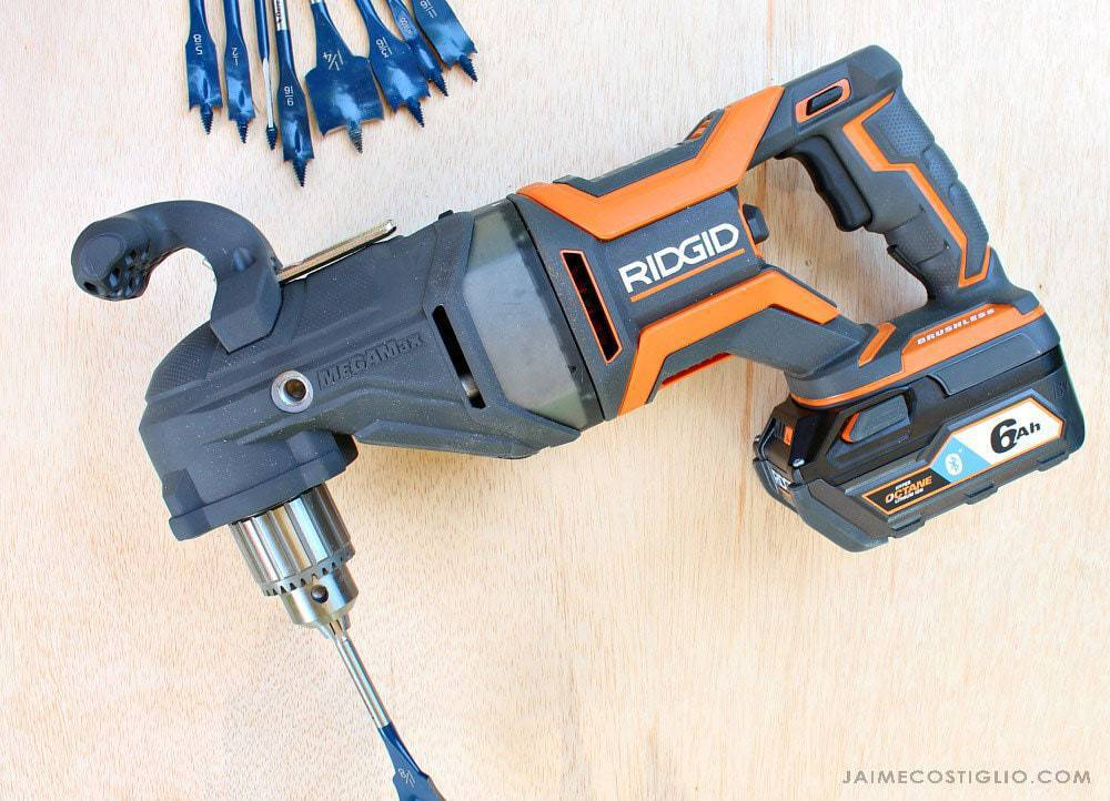 ridgid megamax right angle drill with spade bit