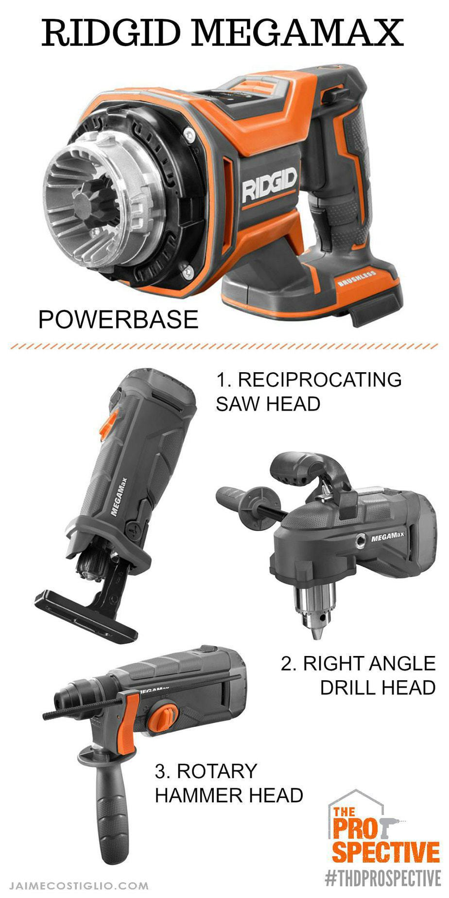 ridgid megamax powerbase with three head options
