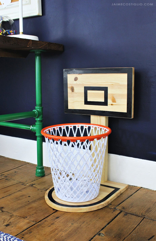 wood basketball hoop trash can holder