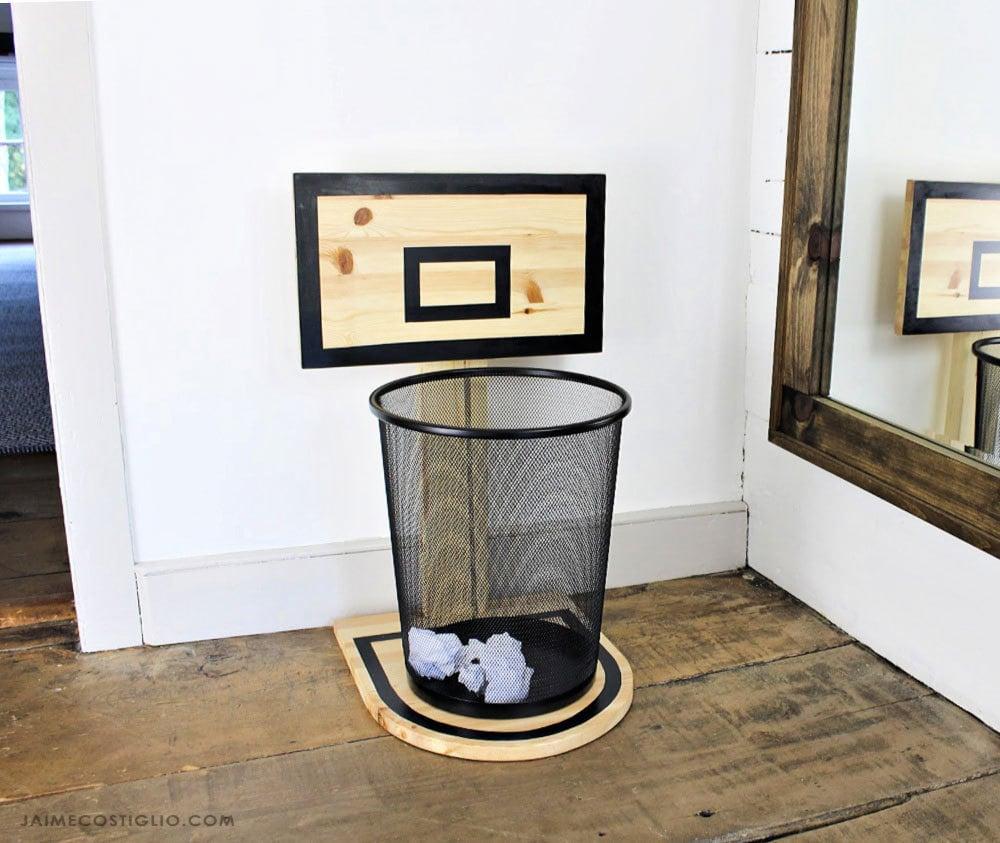 wood basketball backboard with trash can