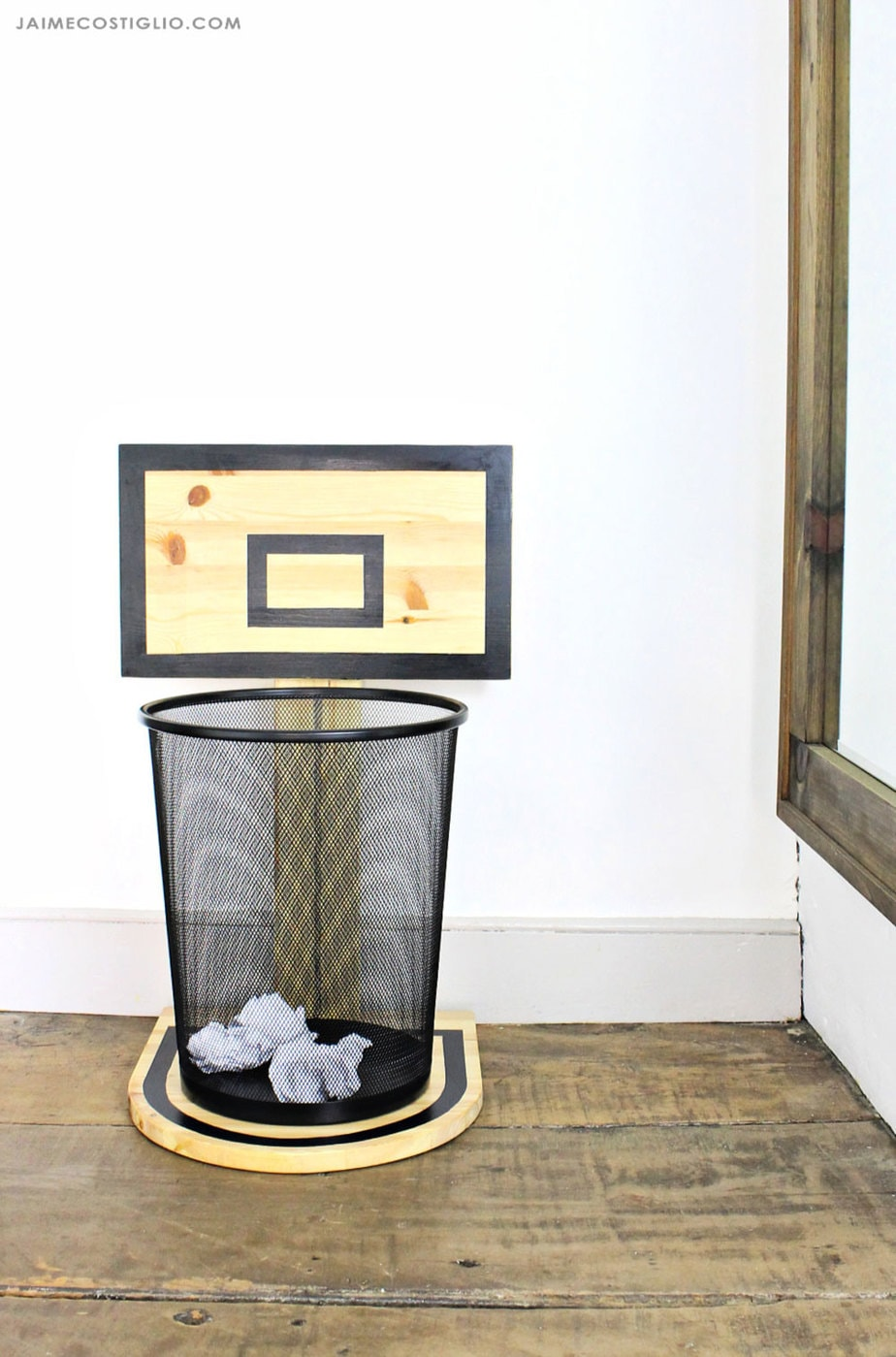 basketball hoop trash can
