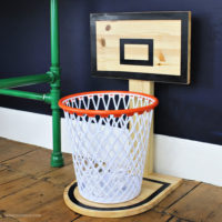 basketball hoop trash can feature