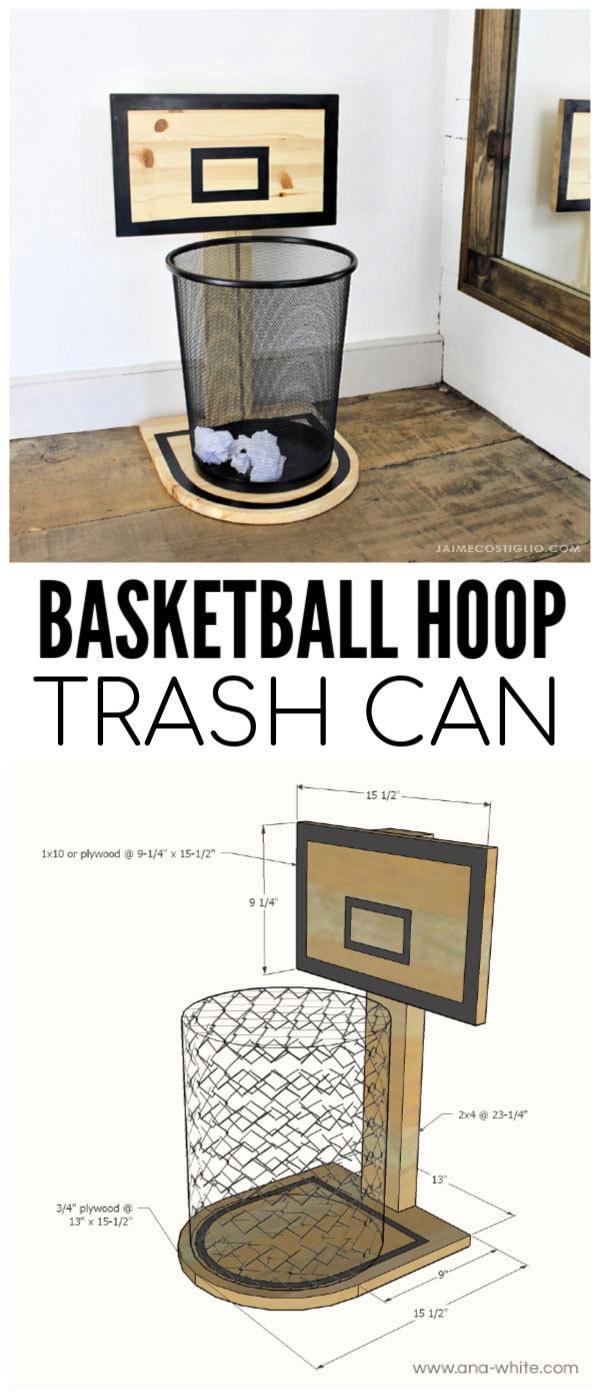basketball hoop trash can free plans