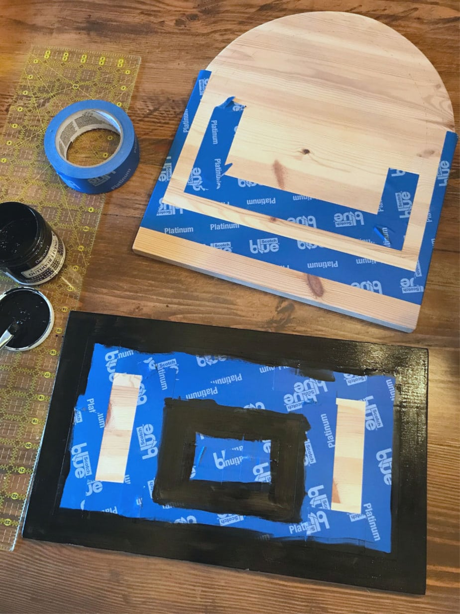 painting lines on basketball hoop trash can
