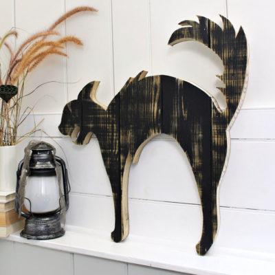 Halloween Wood Black Cat