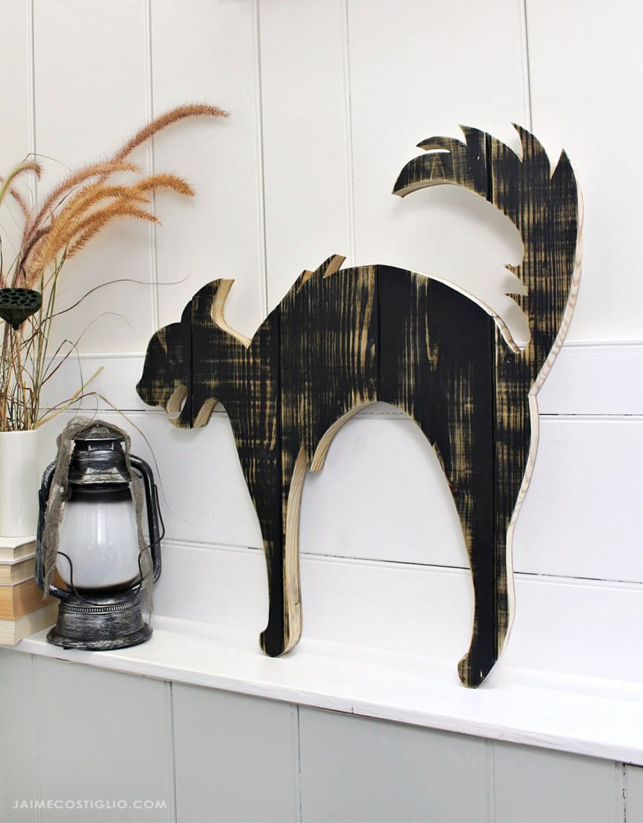 black cat wood cut out