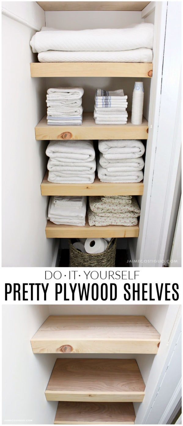 diy pretty plywood shelves