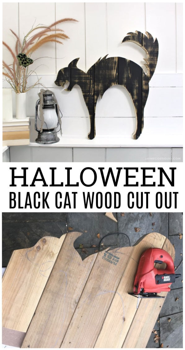 halloween black cat wood cut out