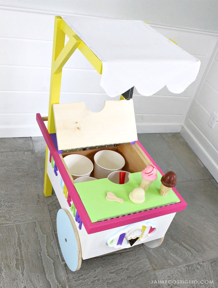 kids ice cream cart with lid open