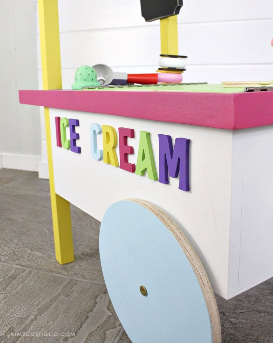 diy ice cream cart side detail