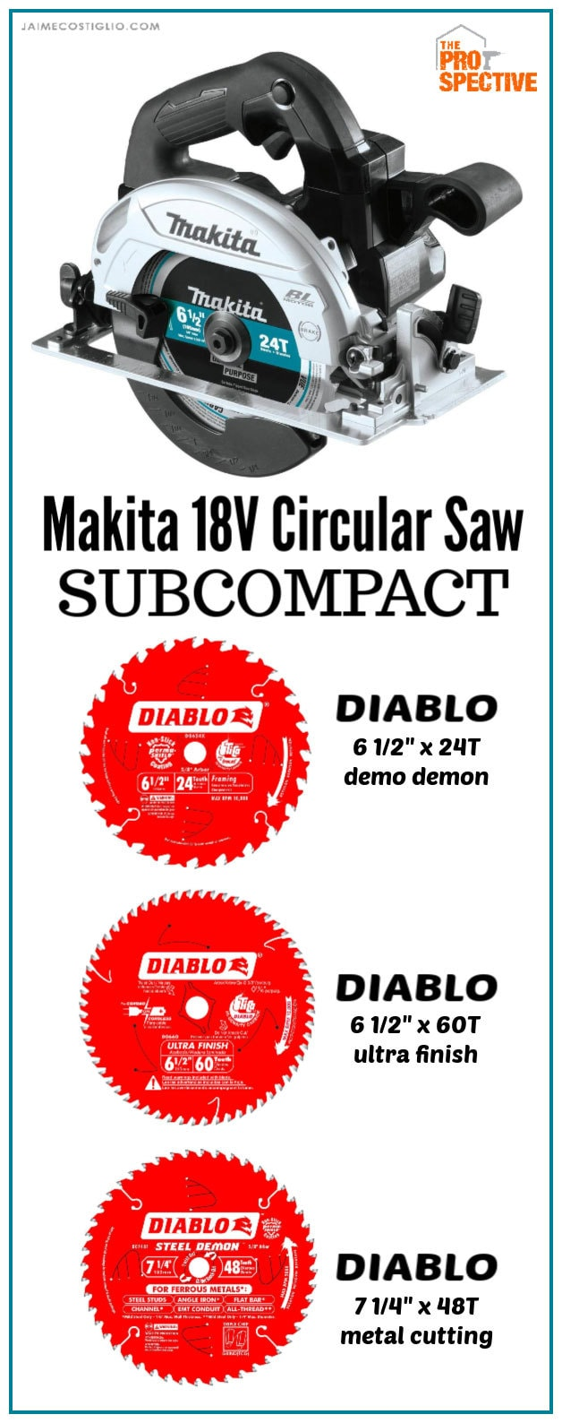 makita subcompact circular saw and diablo blades
