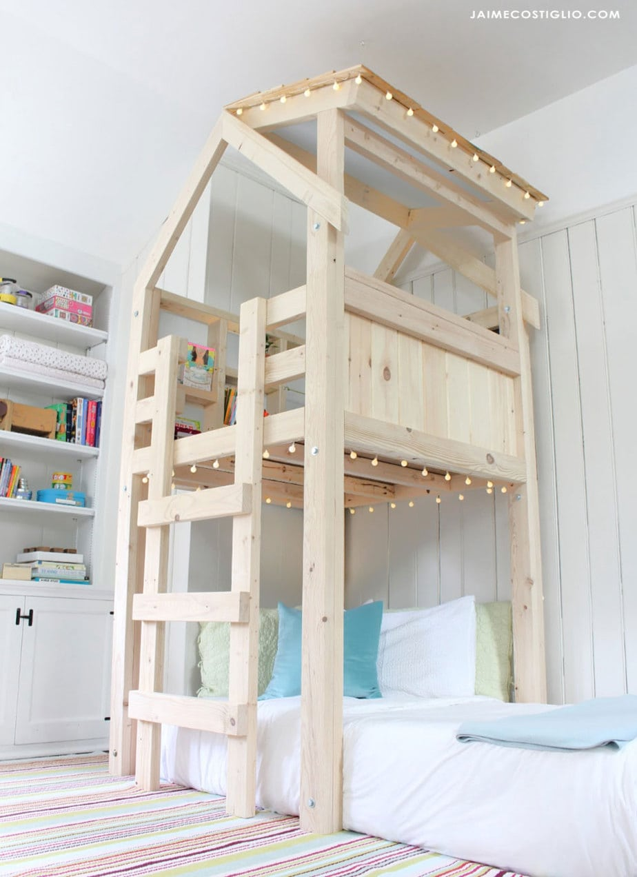 diy kids loft playhouse with built in ladder