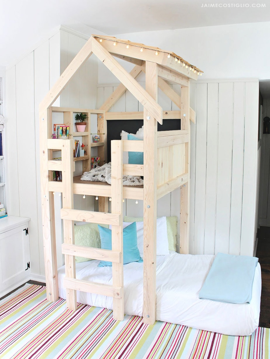diy indoor playhouse loft over twin bed