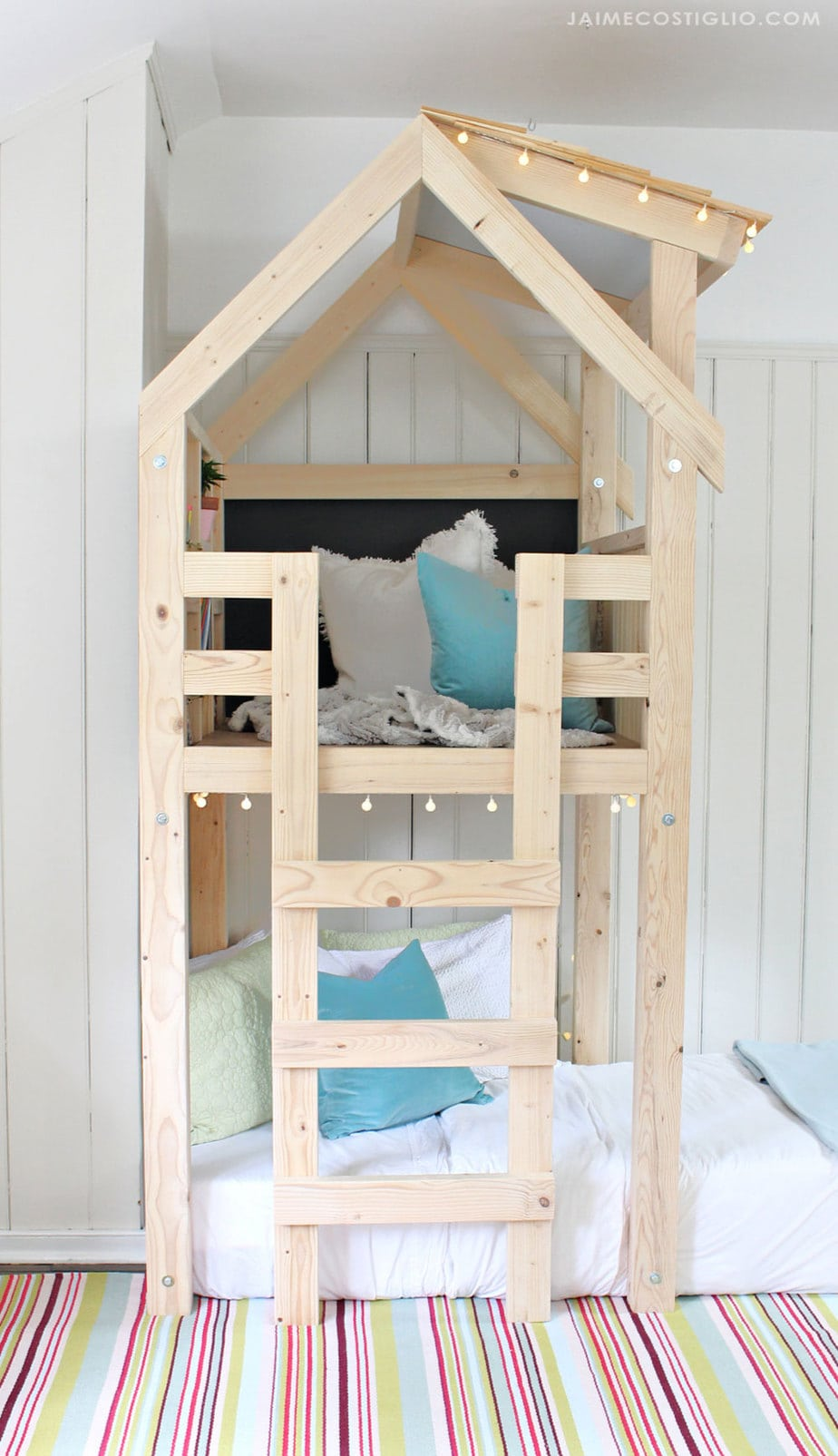 kids indoor loft space with bed underneath