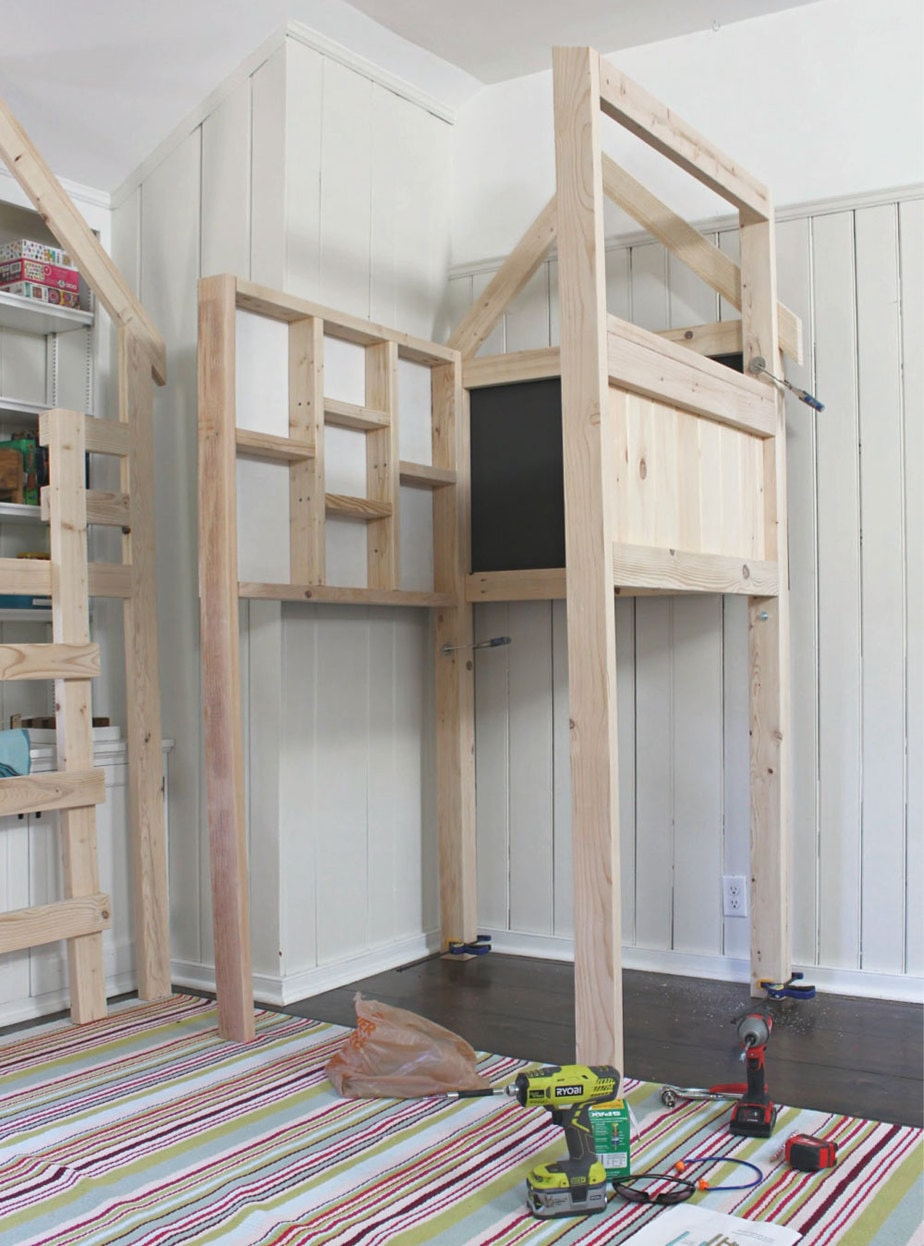assembling kids indoor playhouse loft