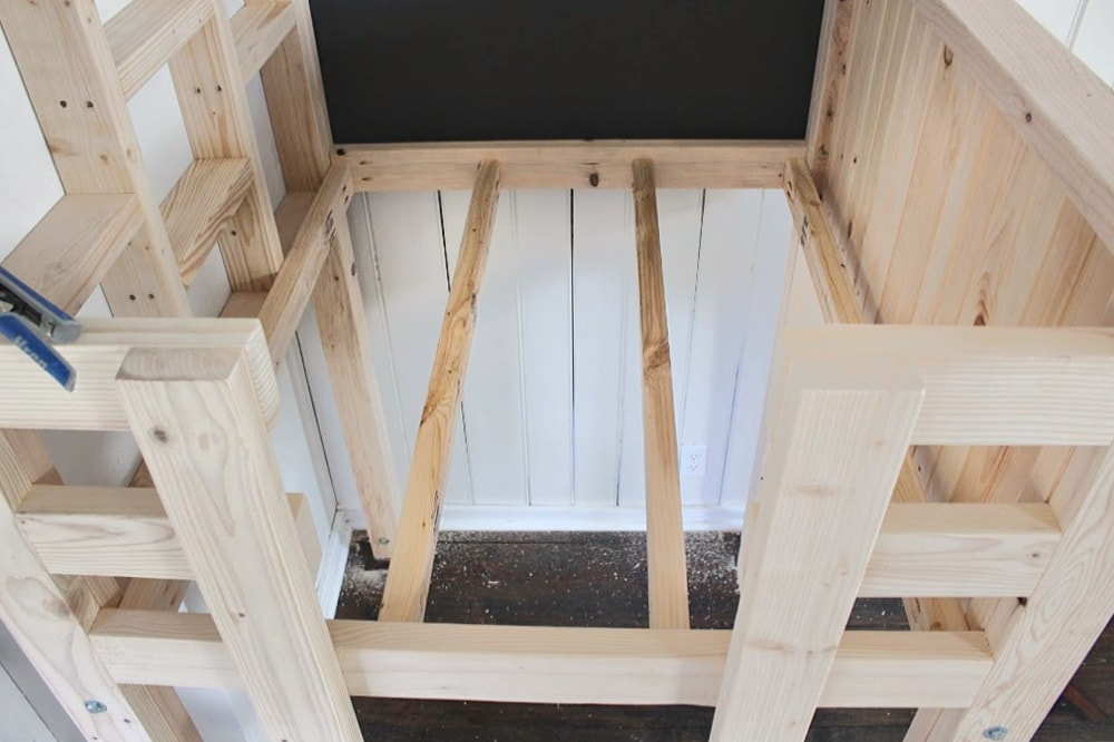 playhouse over bed kids loft floor joists