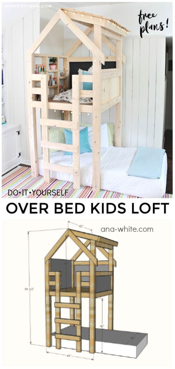 diy indoor playhouse kids loft over bed free plans