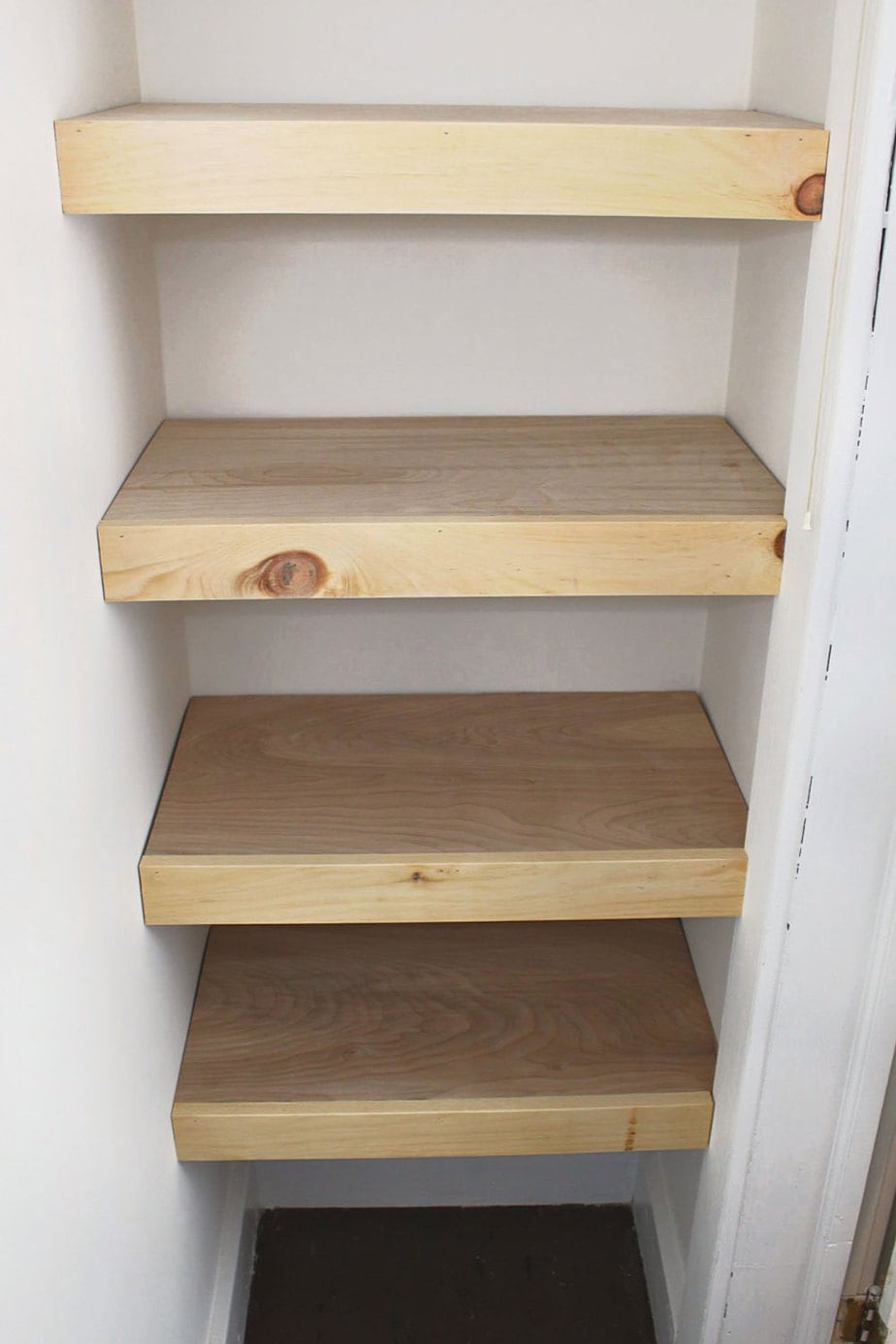 plywood shelves with trim