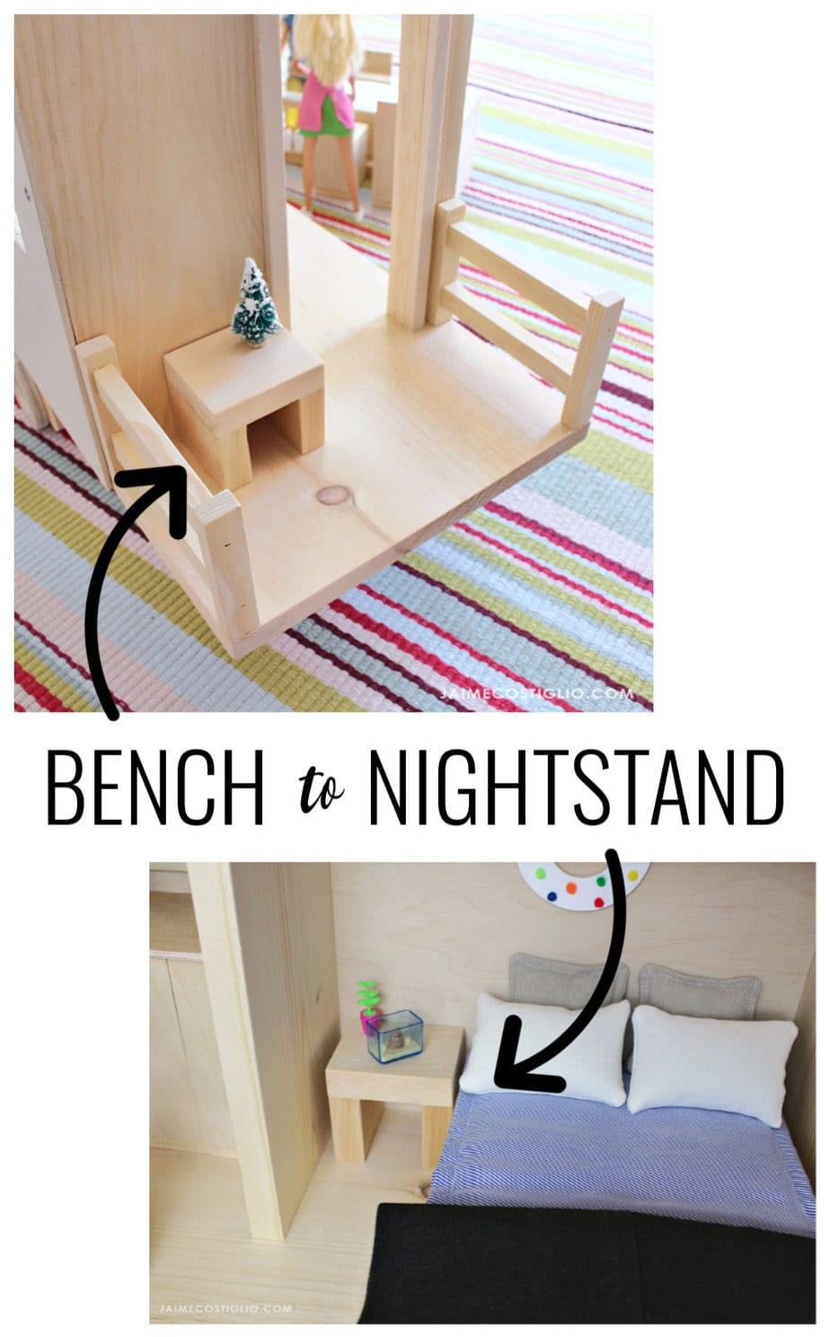 tiny house dollhouse bench into nightstand
