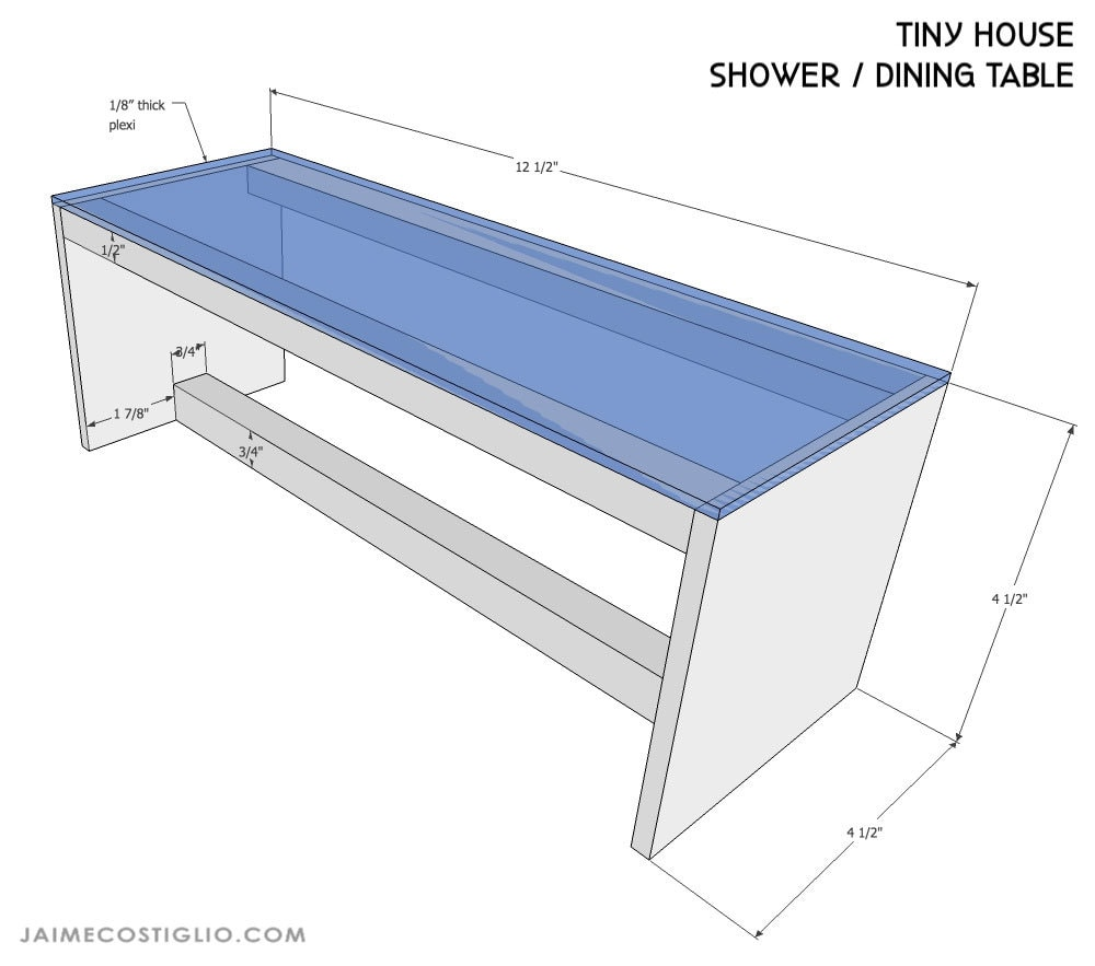 tiny house dollhouse shower dimensions