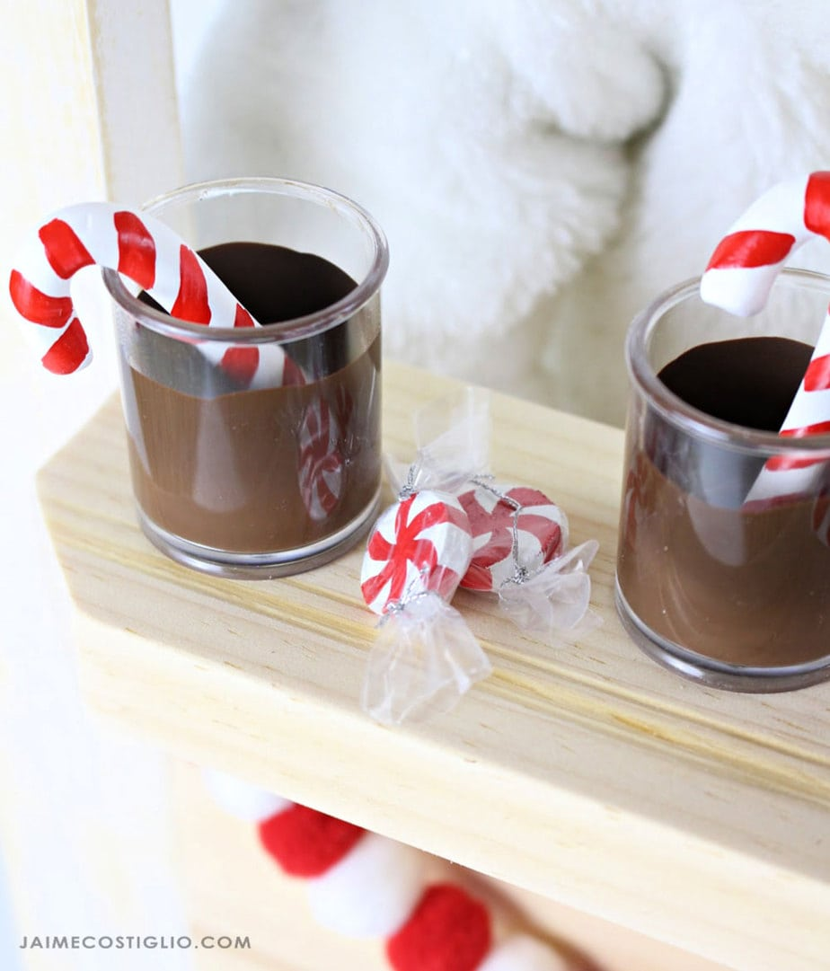 doll size hot cocoa and candycanes